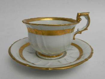 Cup and Saucer - white porcelain - 1870