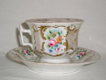 Cup and Saucer - painted porcelain - 1860