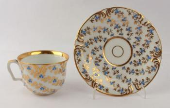 Cup and Saucer - white porcelain - Fischer & Reichenbach Bohemia - 1840