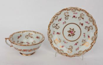 Cup and Saucer - white porcelain - Loket Bohemia - 1836