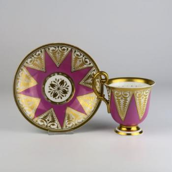 Cup and Saucer - white porcelain - 1825
