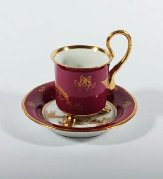 Cup and Saucer - white porcelain - 1900