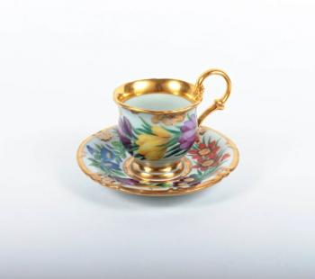 Cup and Saucer - white porcelain - 1840